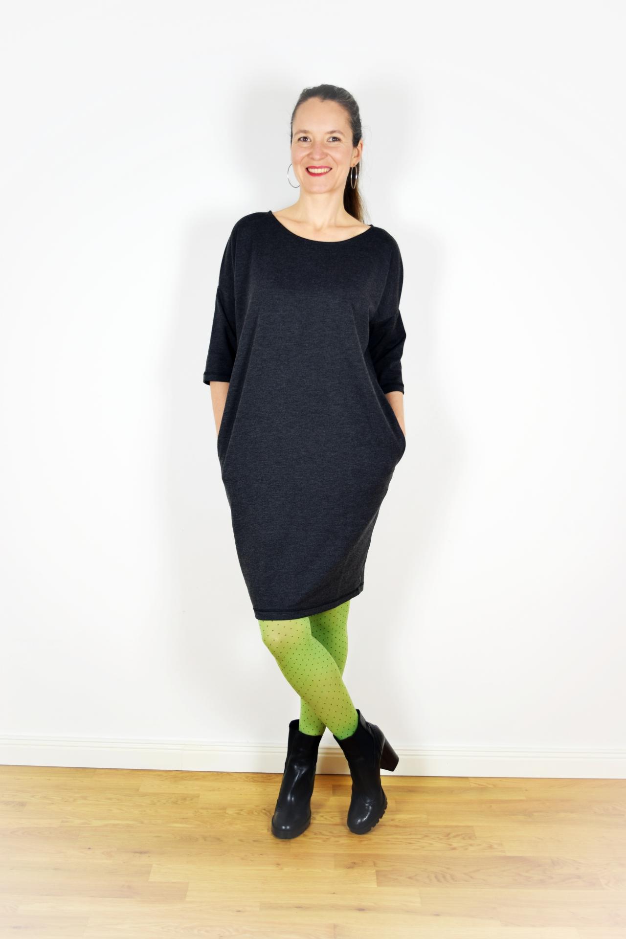 BellaSeven® Shop - Jersey Kleid -Grau-